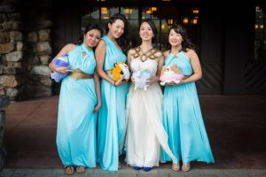 Bridal party portrait at a Bear Mountain Carousel wedding