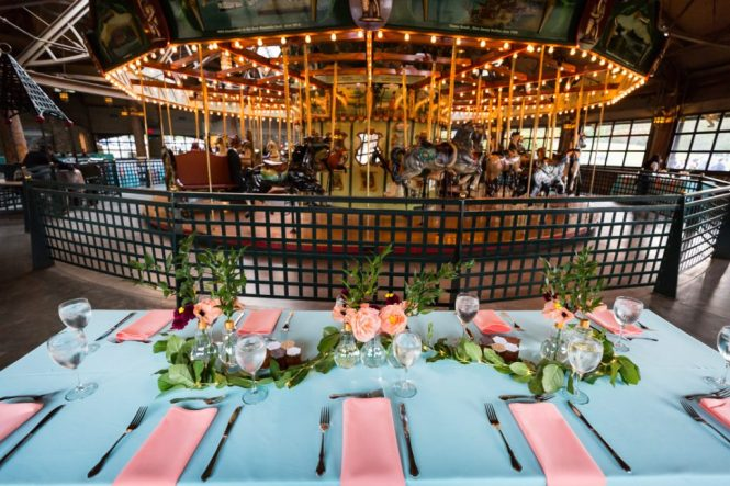 Tablescape at a Bear Mountain Carousel wedding
