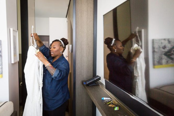 Bride getting ready for an article on elopement tips