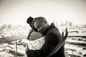 Bride and groom hugging for an article on elopement tips