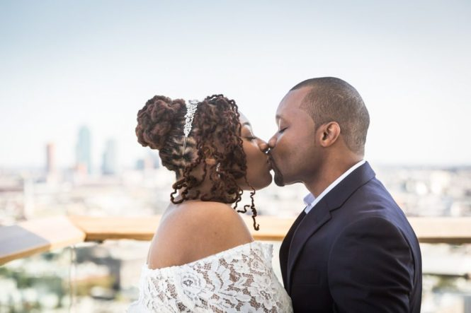 Bride and groom kissing for an article on elopement tips