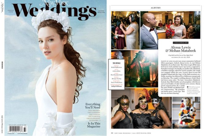 New York Magazine Weddings cover for an article on planning a Halloween wedding