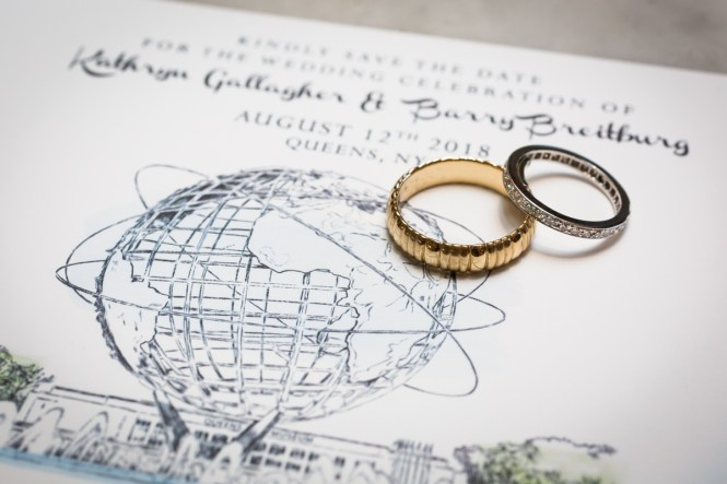 Wedding rings and invitation for article on a Terrace on the Park wedding