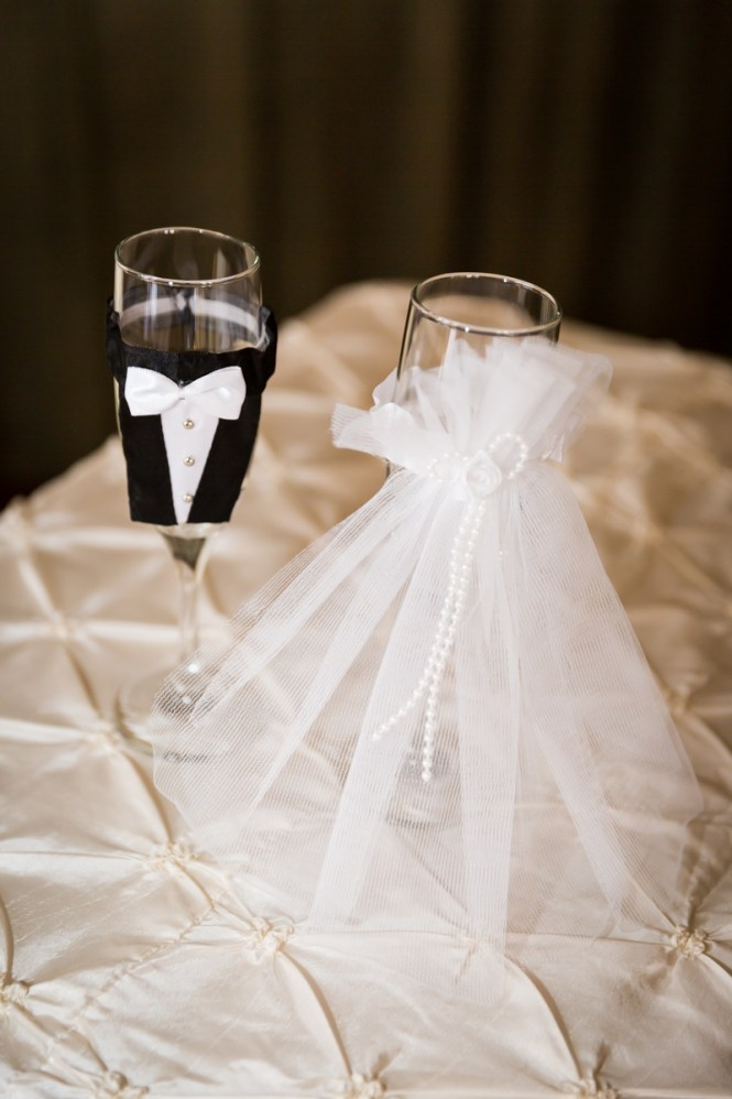 Bride and groom champagne glasses for article on a Terrace on the Park wedding