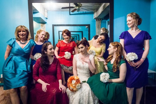 Bride and bridesmaids for an article on bouquet and garter toss alternatives