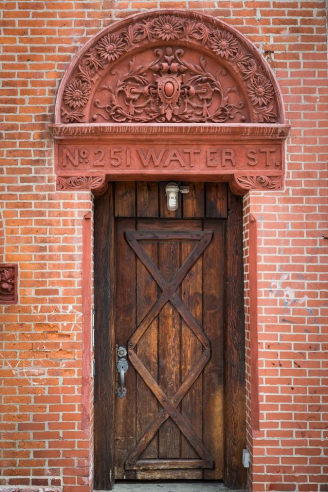 Doorway in South Street Seaport for an article on City Hall wedding portrait locations