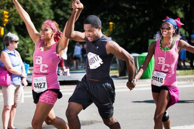 Three runners at Susan G. Komen r
