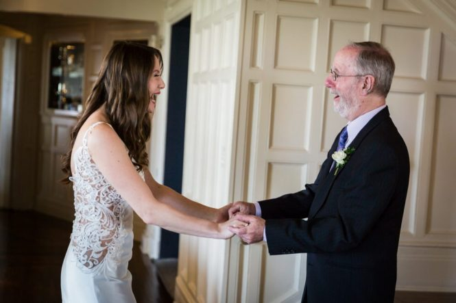 Father daughter first look at a Larchmont Shore Club wedding