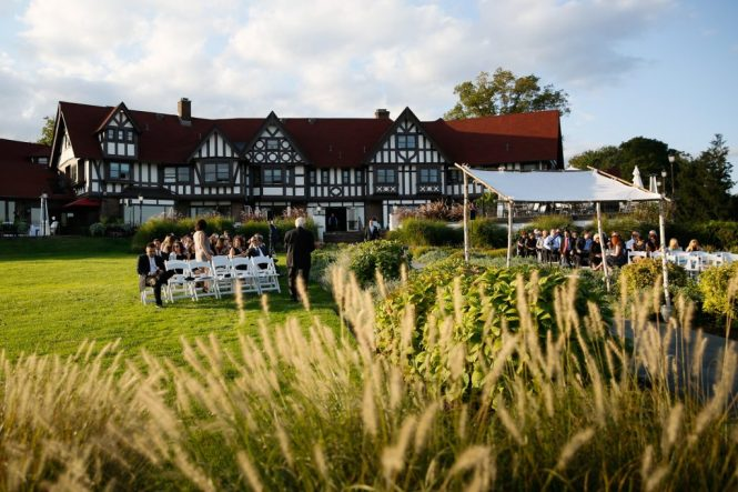 View of club house at a Larchmont Shore Club wedding