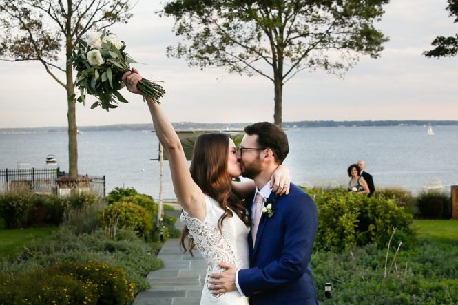 Wedding ceremony at a Larchmont Shore Club wedding