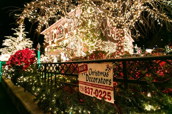 Dyker Heights home at Christmas for an article on NYC holiday card location suggestions