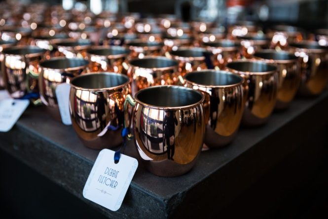 Moscow mule copper mug guest favors at a same sex wedding celebration in Washington DC