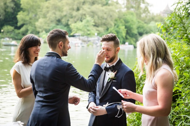 Groom crying for an article entitled, 'Do you need a permit to get married in Central Park?'