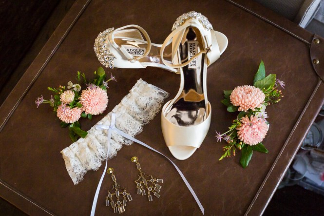 Bride's shoes and accessories at a Central Park Conservatory Garden wedding
