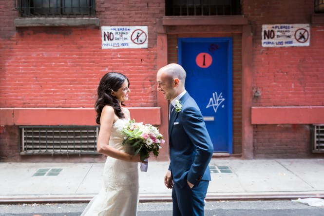 Bride and groom in Soho alleyway for an article on non-floral centerpiece ideas