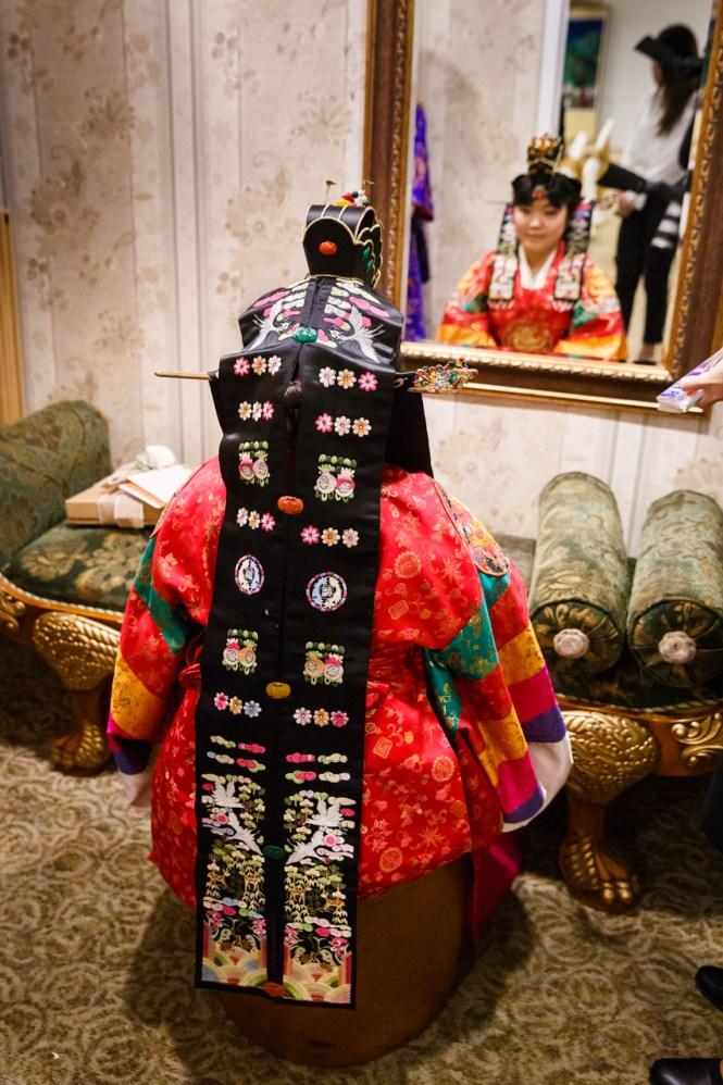 Bride's dot'urak daenggi worn in a traditional Korean pyebaek ceremony