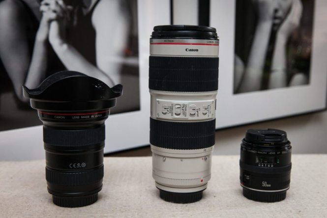 Professional Canon lenses of photographer Kelly Williams