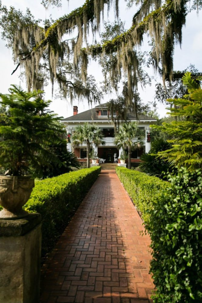 The front walkway to the Herlong Mansion Bed and Breakfast Inn