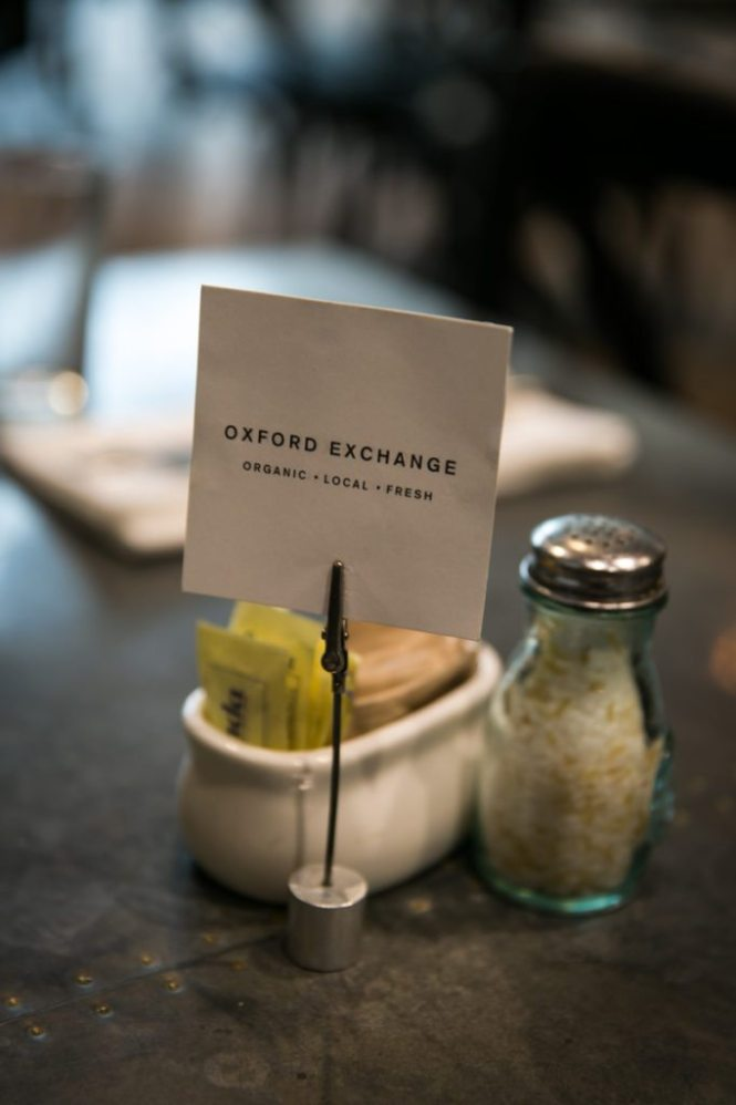 Detail of a table setting at the restaurant of the Oxford Exchange in Tampa, Florida
