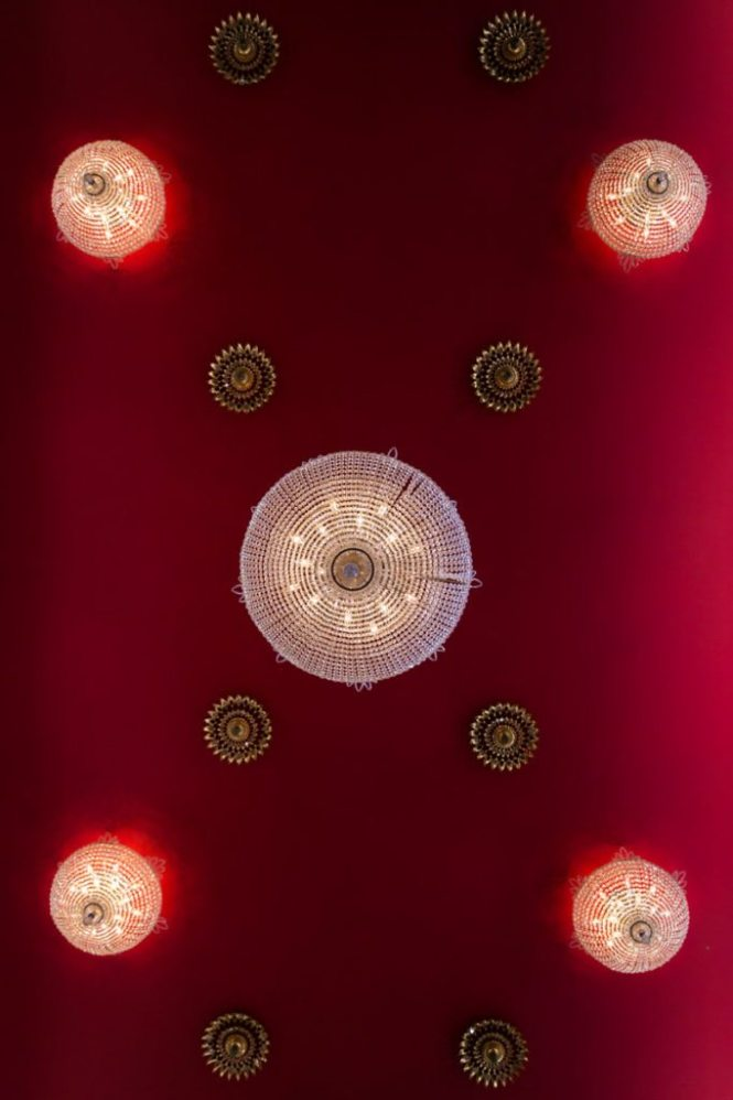 The intricate ceiling of the Wat Mongkolratanaram, photographed by NYC photojournalist, Kelly Williams