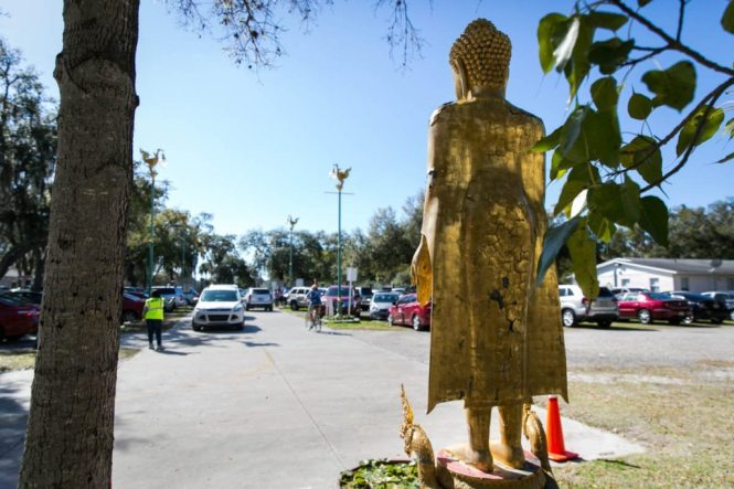 The parking lot of the Wat Mongkolratanaram, photographed by NYC photojournalist, Kelly Williams