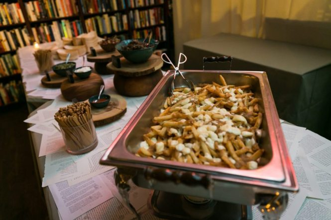 Poutine station from a Housing Works Bookstore wedding, by NYC wedding photojournalist, Kelly Williams