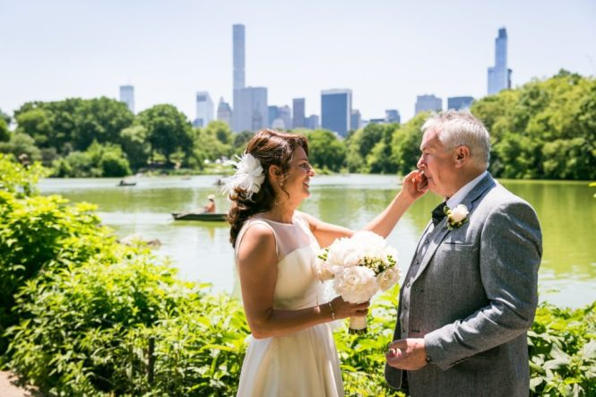 Bride and groom before a Ladies Pavilion wedding by NYC wedding photojournalist, Kelly Williams