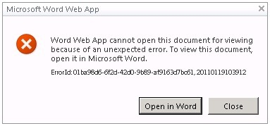 Failed to open a document with a Office Web App in