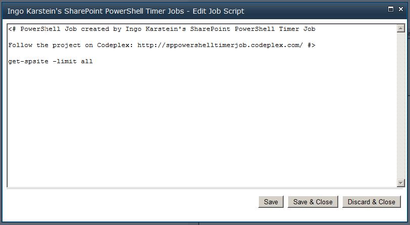 SharePoint PowerShell Timer Jobs: Run PowerShell scripts in