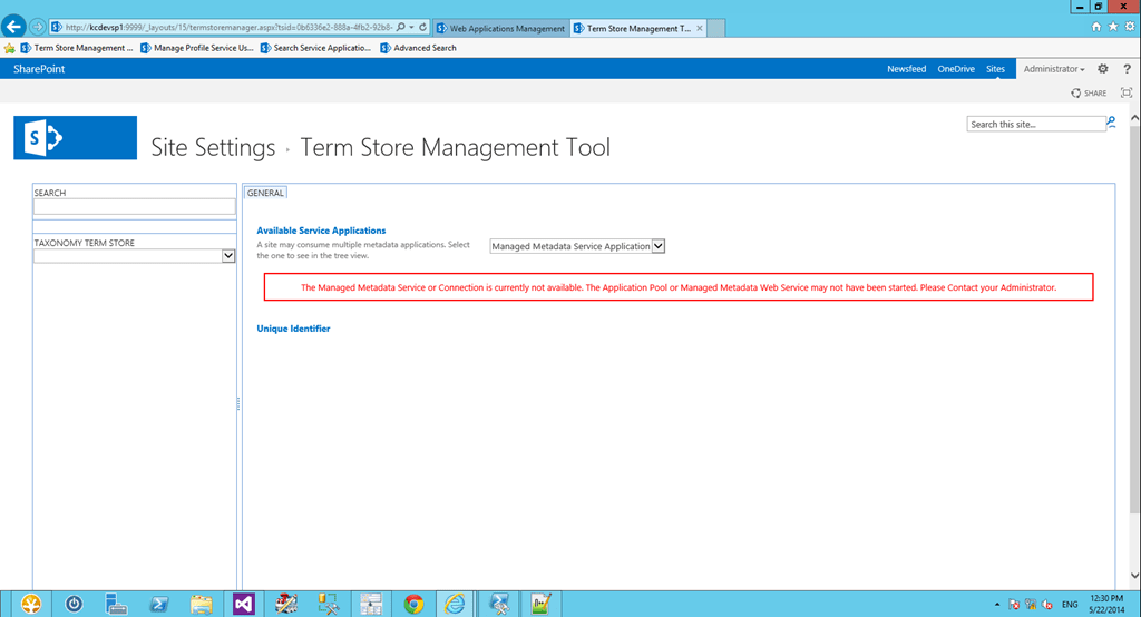 Troubleshooting: Cannot access Managed Metadata Service Application