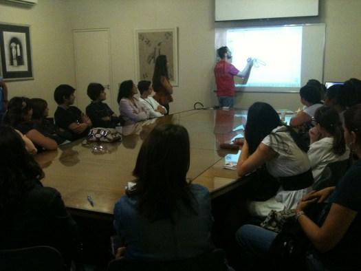Image of new teachers in training seminar.