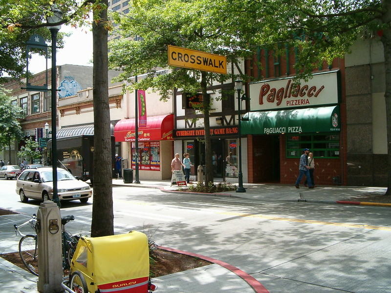 Photo of Pagliacci's pizza University location in Seattle, WA in 2004.