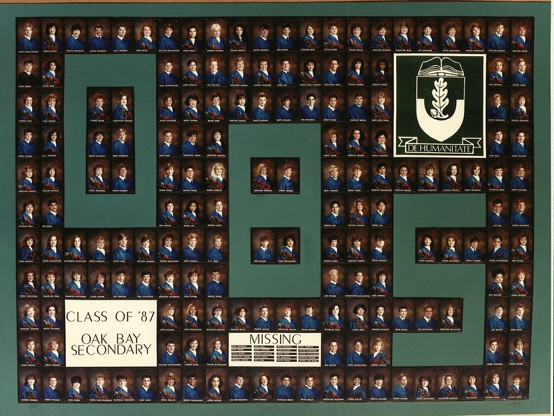 Photo of headshots of the grad class of 1987 from Oak Bay Secondary