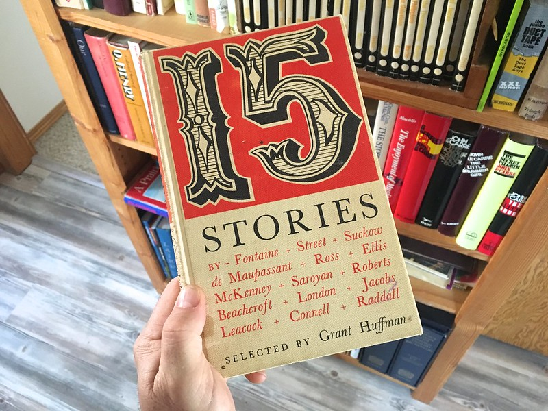 "A hand holding up a book with the title ""15 Stories"""
