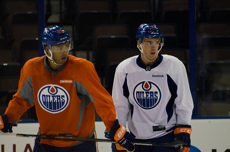 Connor McDavid and Darnell Nurse at the 2015 Oilers Development Camp