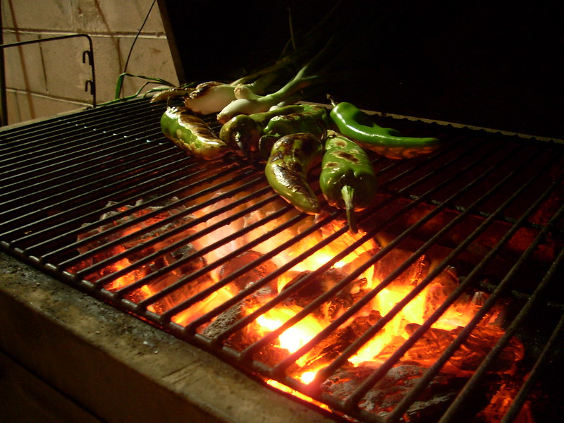 Some chile peppers over a very hot grill.