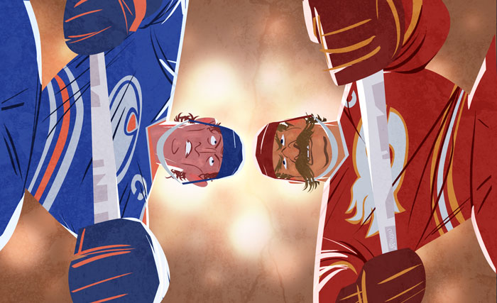 Illustration for Maxim Canada, issue 01. From below during a hockey facebook between Oilers and Flame players.