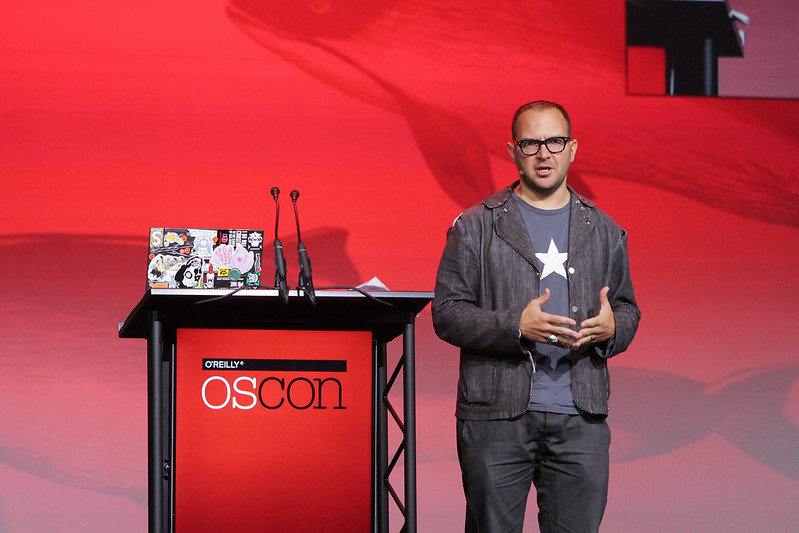 Picture of Cory Doctorow talking at O'Reilly OSCON Open-Source