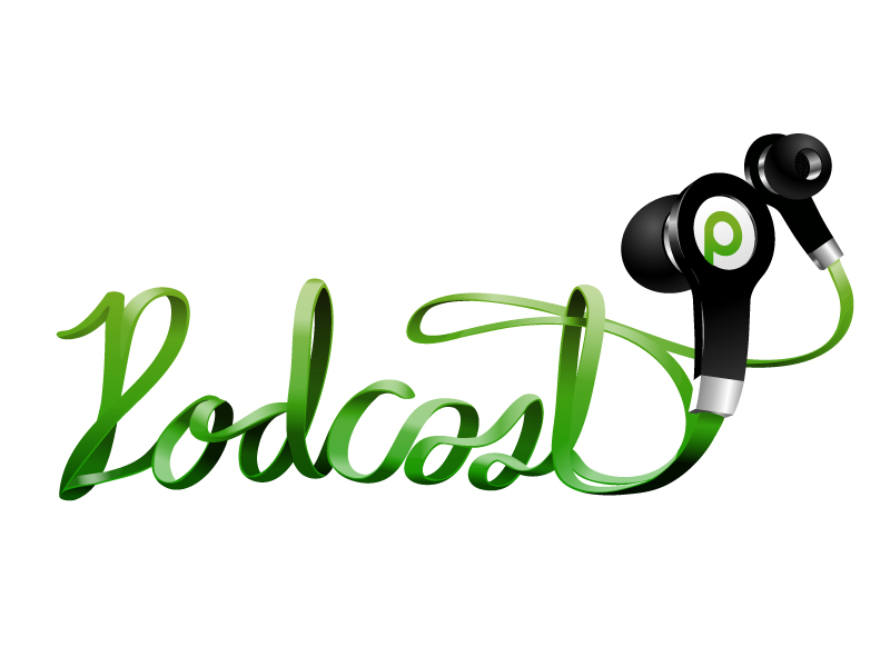 The word Podcast formed from green earbuds