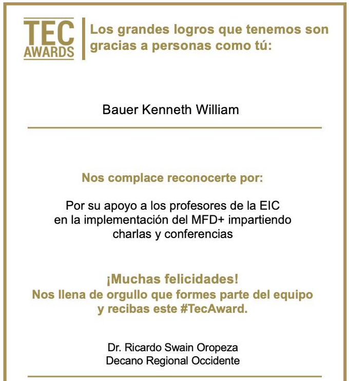 A digital certificate for my Tec Awards (2020 RZO EIC)