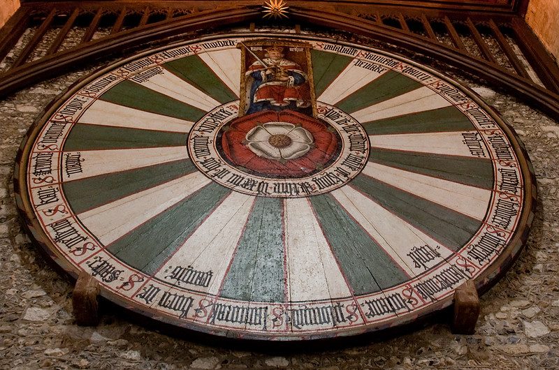 Arthur's Round Table Constructed in the 14th Century and repainted in its present form for King Henry VIII.