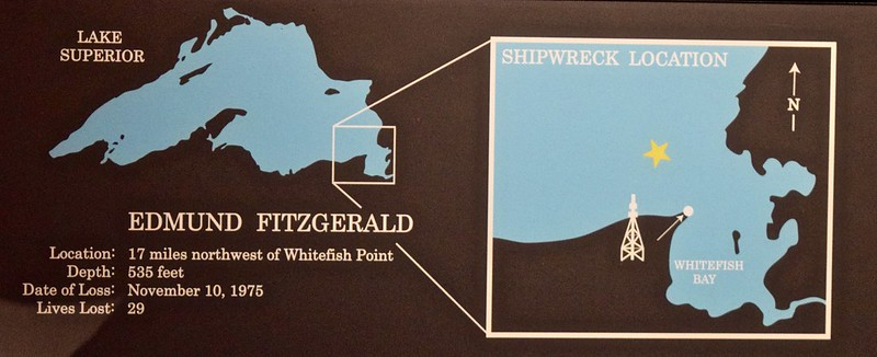 Chart of the location of the shipwreck of the Edmund Fitzgerald.
