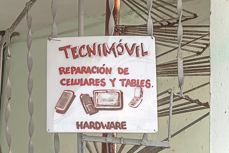 This business sign in Cienfuegos seemed a little low-tech for the high-tech business it was advertising.