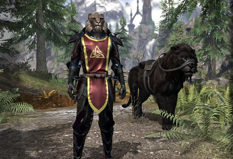 Khajit character at login screen to Elder Scrolls Online.