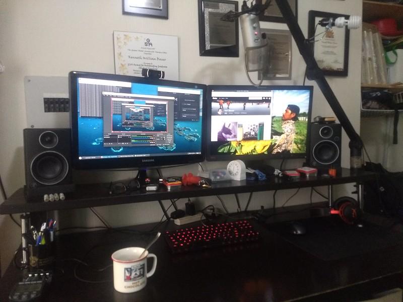 Home workstation setup on a standing desk.