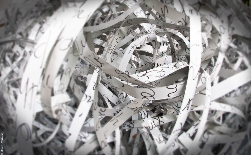 Closeup with shallow depth of field of shredded paper.