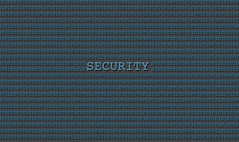 Word SECURITY in all capitals surrounded by binary of 1's and 0's.
