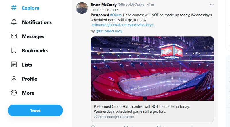 A Bruce McCurdy tweet about the #Oilers #Canadiens game being postponed.