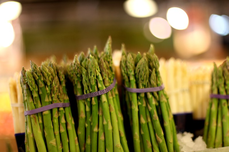 aspargus bundles at the supermarket.
