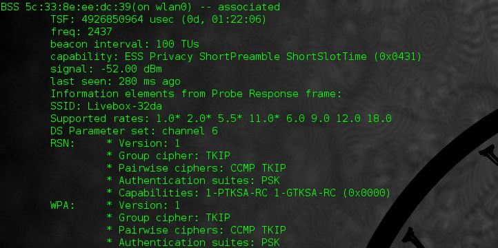 Screenshot of running iw-scan in Linux at the command line.